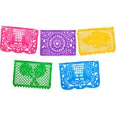 Cinco de Mayo Decorations Large Neon Plastic Picado Banner Image