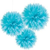 Luau Decorations Caribbean Blue Fluffy Tissue Balls Image