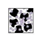 New Years Decorations Black Top Hats and Silver Stars Confetti Image