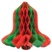 Christmas Decorations Red & Green Tissue Bell Image