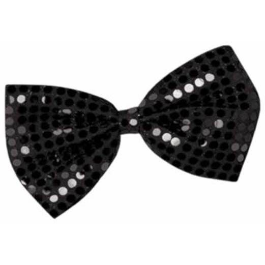Casino Party Wear Black Glitzy Bow Tie Image