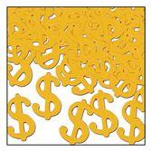 """Casino Decorations """"$"""" Confetti Gold Image"""
