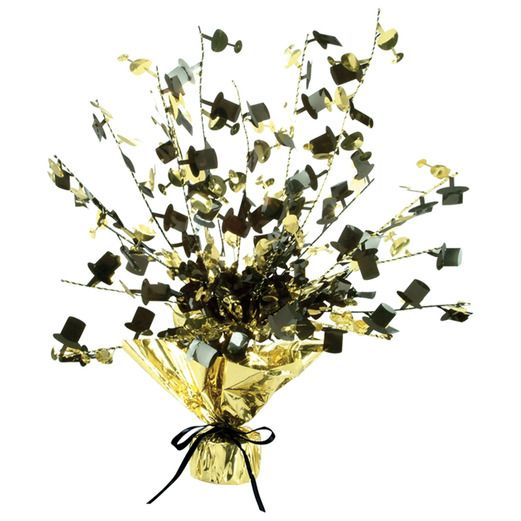 New Years Decorations Champagne Glass & Top Hat Centerpice Black-Gold Image