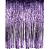 Mardi Gras Decorations Purple Metallic Fringe Curtain Image