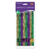 Mardi Gras Decorations Green-Gold-Purple Metallic Fringe Curtain Image