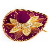 Cinco de Mayo Hats & Headwear Burgundy and Gold Mariachi Sombrero Image
