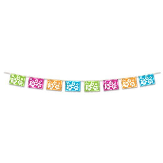 Luau Decorations Hibiscus Pennant Banner Image