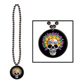Day of the Dead Party Wear Day of The Dead Bead Necklace Medallion Image