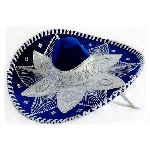 28c0af15cca8b Cinco de Mayo Hats   Headwear Royal Blue and White Mariachi Sombrero Image