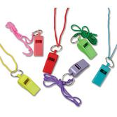 Birthday Party Favors & Prizes Neon Whistles with Rope Image
