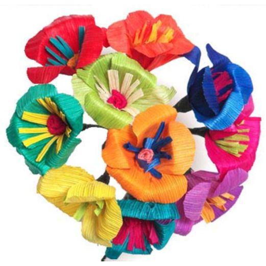 Cinco de Mayo Decorations Multicolor Pansy Cornhusk Flowers Image