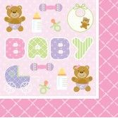 Baby Shower Table Accessories Teddy Baby Pink Lunch Napkins Image