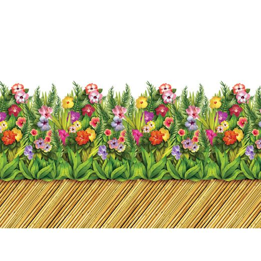 Luau Decorations Tropical Flower Bamboo Walkway  Image