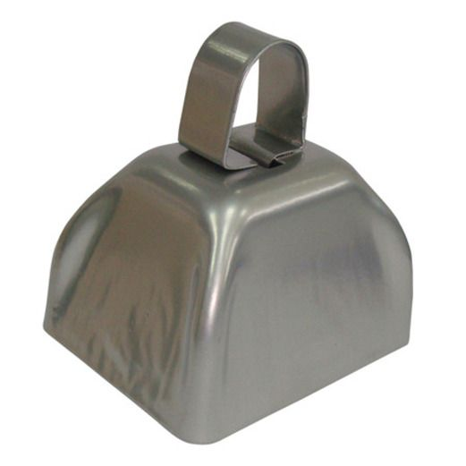 New Years Favors & Prizes Silver Metal Cow Bell Image