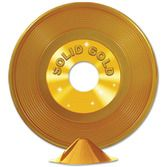 Fifties Decorations Gold Plastic Record Centerpiece Image