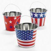4th of July Favors & Prizes Metal Patriotic Pail Image