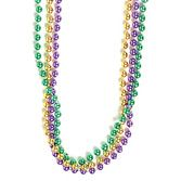 Mardi Gras Party Wear Green, Gold, Purple Metallic Bead Necklaces Image
