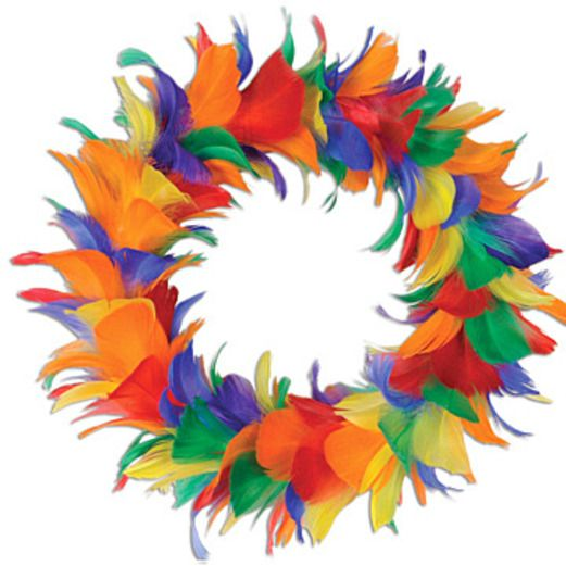 Cinco de Mayo Decorations Rainbow Feather Wreath 12 inch Image