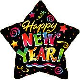 New Years Balloons Happy New Year Star Mylar Balloon Image