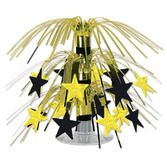 New Years Decorations Black and Gold Star Mini Cascade Centerpiece Image