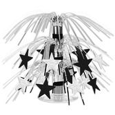 New Years Decorations Black and Silver Star Mini Cascade Centerpiece Image