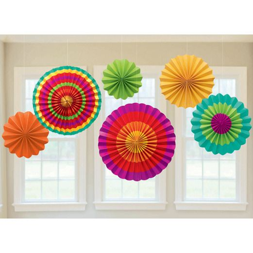 Cinco de Mayo Decorations Fiesta Paper Fan Decorating Kit Image