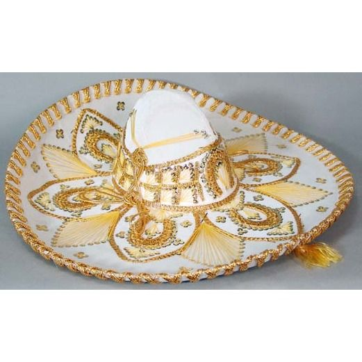 Cinco de Mayo Hats & Headwear White and Gold Mariachi Sombrero Image