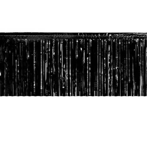 Black Metallic Fringe Table Skirt
