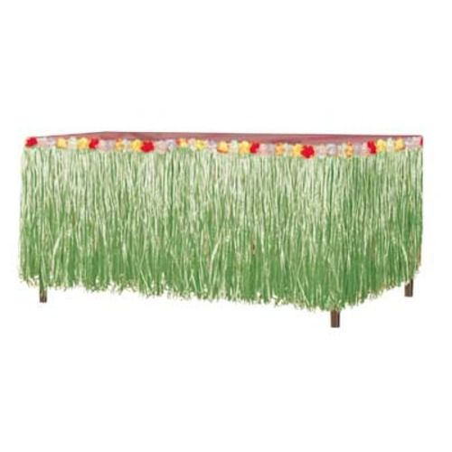 Green Grass Table Skirt With Flowers