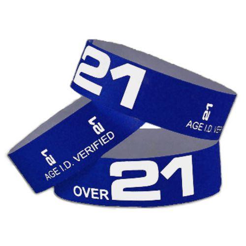 Tyvek Wristbands Over 21 Navy Blue