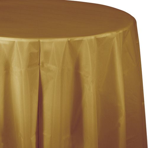 Round Table Cover Metallic Gold