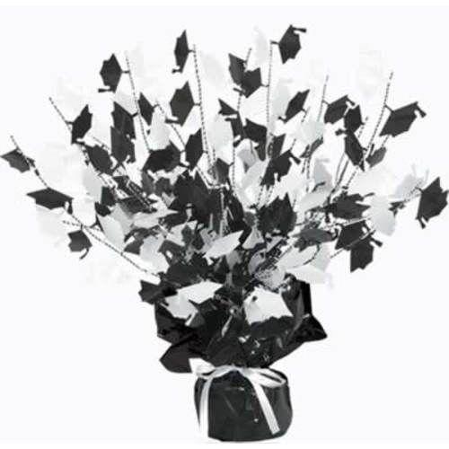 Black and White Graduation Cap Centerpiece
