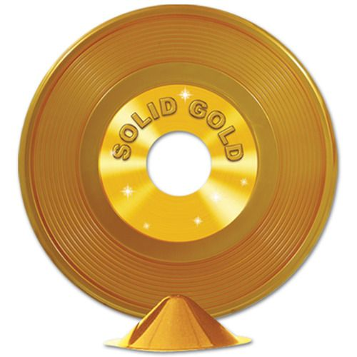Gold Plastic Record Centerpiece