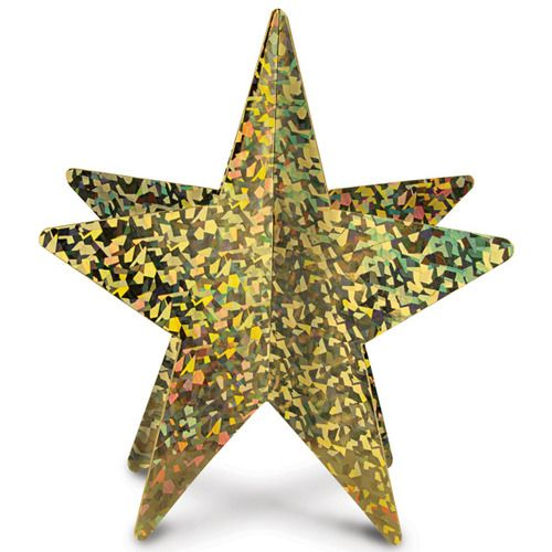 Gold 3-D Prismatic Star Centerpiece
