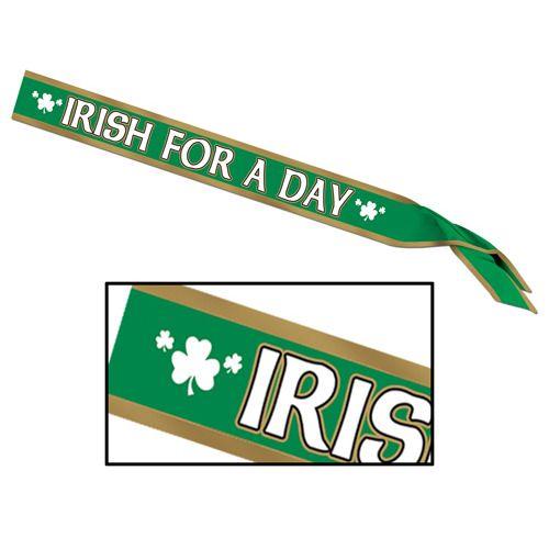 """""""Irish For A Day"""" Satin Sash"""