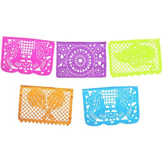 Cinco de Mayo Decorations Large Neon Papel Picado Banner Image