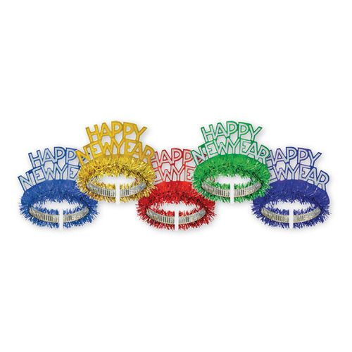 Happy New Year Fringed Tiara Assorted Colors
