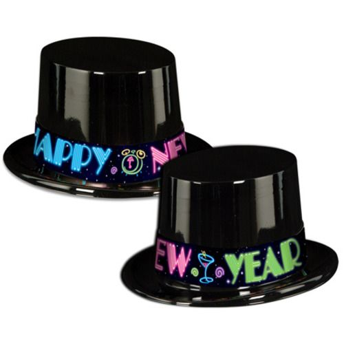 Neon New Year Top Hat