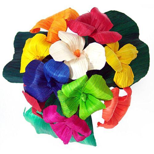 Multicolor  Hortencia Cornhusk Flowers