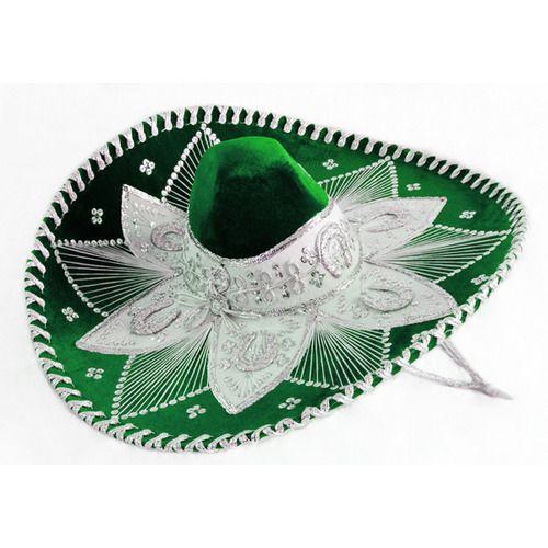 Green and White Mariachi Sombrero
