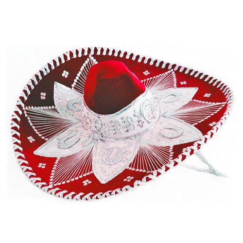 Red and White Mariachi Sombrero