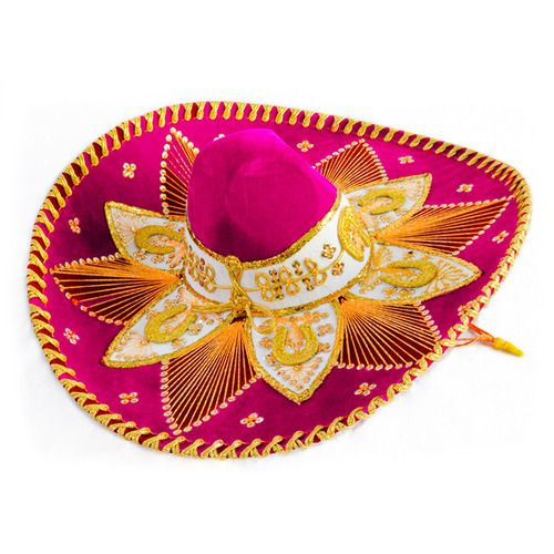 Hot Pink and Gold Mariachi Sombrero