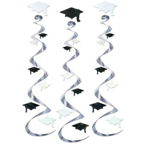 Black and White Grad Cap Whirls