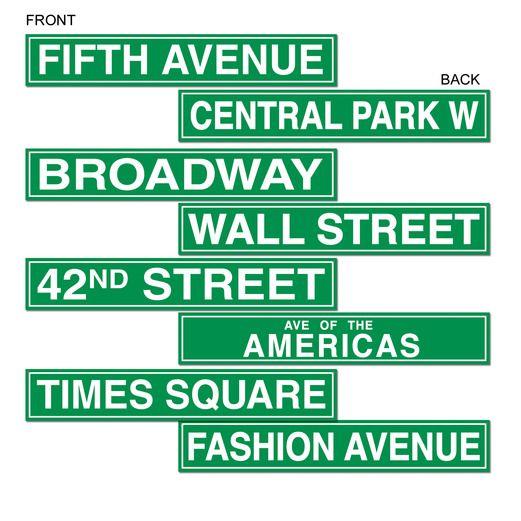Decorations / Cutouts New York City Street Sign Cutouts Image