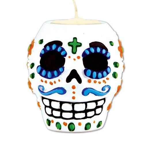Day of the Dead Decorations Day of the Dead Male Tea Light Holder Image
