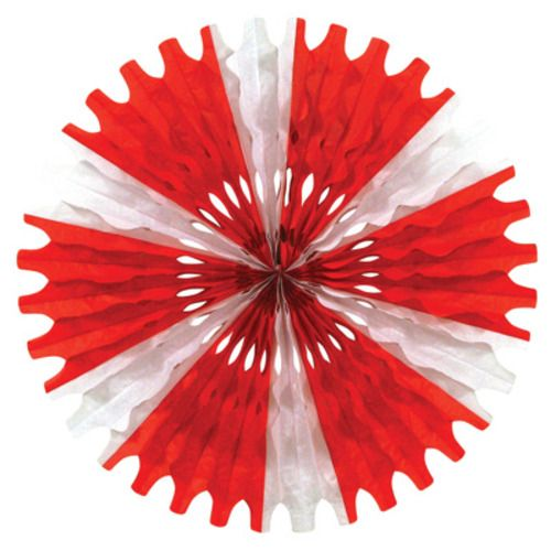 Red and White Tissue Fan