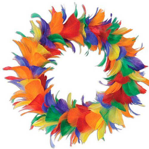 Rainbow Feather Wreath 12 inch