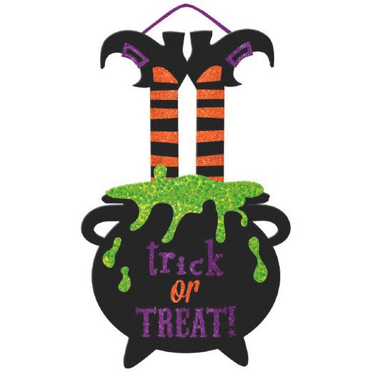 Halloween Decorations Glittered Witch Sign Image