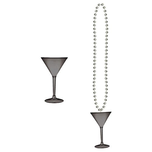 Black and Silver Martini Glass Bead Necklace
