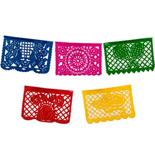 Mini Plastic Picado Banner - Multicolor
